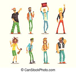 Cartoon people characters of different subcultures. Young guys and adult men's with cultural attributes. Flat vector set