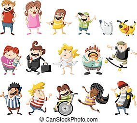 cartoon people - Colorful cute happy cartoon people