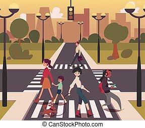 Cartoon people crossing the road, men and women on empty crossroad walking across street in urban background