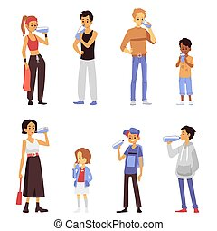 Cartoon people drinking water - isolated set of men, women and children