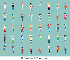 cartoon people - large group of cartoon people, vector...