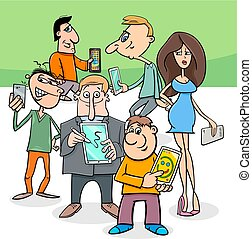 cartoon people group with electronic devices - Cartoon...