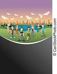 cartoon people in the city park