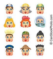 cartoon people job face icons set