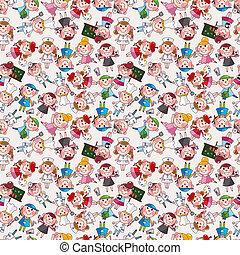 cartoon people job seamless pattern