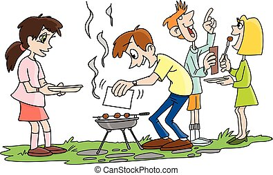 Cartoon people making barbecue and chatting in the garden vector illustration