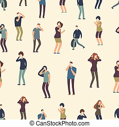 Cartoon people mask seamless pattern. Bad dirty air