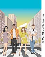 Cartoon people on downtown street