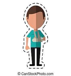 cartoon people patient broken arm vector illustration eps 10