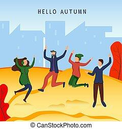 Cartoon people play in the autumn park