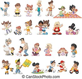 cartoon people - Group of cute happy cartoon people