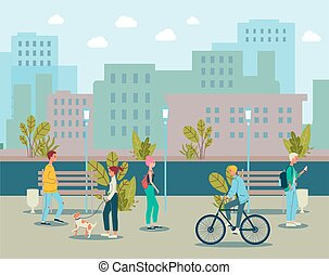 Cartoon people walking in city park - modern cityscape with men and women