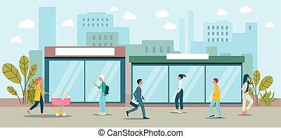 Cartoon people walking in downtown city landscape - urban street cityscape