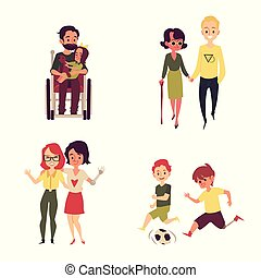 Cartoon people with disability living full life - girl walking with friend, boy playing soccer, man in wheelchair holding his child