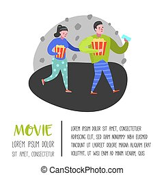 Cartoon People with Popcorn and Movie Tickets in the Cinema Poster. Man and Woman Characters. Vector illustration