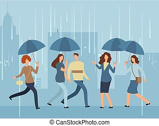 Cartoon people with umbrella walking the street in rainy day