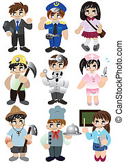 cartoon people work icon set