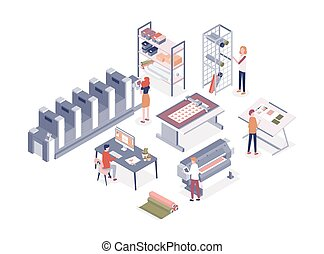 Cartoon people working at printing service center vector isometric illustration. Man and woman workers of printshop isolated on white background. Employee work with professional electronic equipment