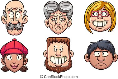 Cartoon people's faces. Vector clip art illustration with...
