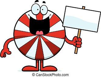 Cartoon Peppermint Sign - A cartoon illustration of a ...