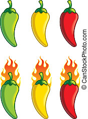 Cartoon Peppers - A variety of different colored cartoon...