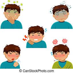 cartoon person having various sickness symptoms