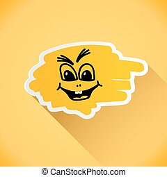 Cartoon person on an orange background. Vector illustration