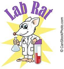 cartoon., personagem, rato laboratório, ilustração, vetcor