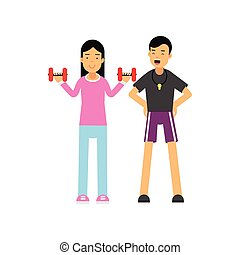 Cartoon personal trainer holds training session with young woman, girl doing exercises with dumbbells