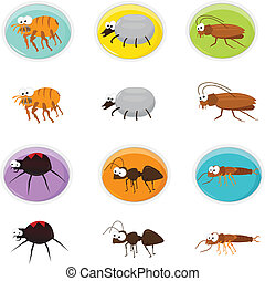 Cute Icon set of cartoon pests. Eps10