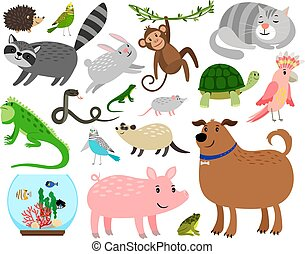 Cartoon pet animals set