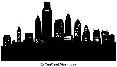 Cartoon Philadelphia - Cartoon skyline silhouette of the ...