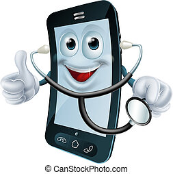 Cartoon illustration of a phone doctor character holding a stethoscope