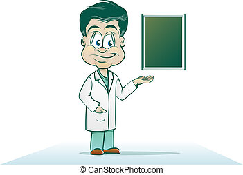 Cartoon Physician - Doctor Cartoon with X-ray or Chart