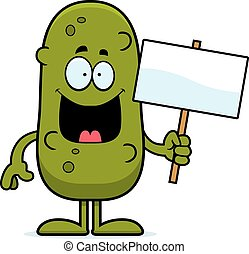 Cartoon Pickle Sign - A cartoon illustration of a pickle...