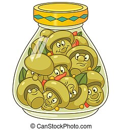 Cartoon pickled champignon mushrooms - Pickles jar. Pickled...