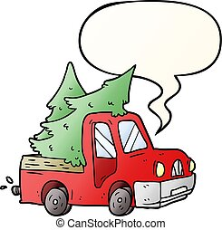 cartoon pickup truck carrying christmas trees and speech bubble in smooth gradient style
