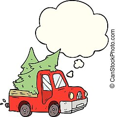 cartoon pickup truck carrying trees and thought bubble