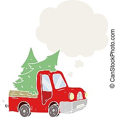 cartoon pickup truck carrying trees and thought bubble in retro style