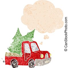cartoon pickup truck carrying trees and thought bubble in retro textured style