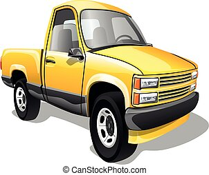 Cartoon pickup truck isolated on white background. Vector illustration.