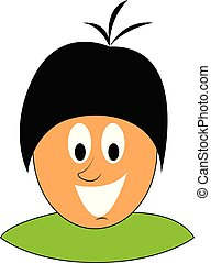 Cartoon picture of a laughing boy over green background viewed from the front, vector or color illustration.