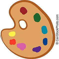 Cartoon picture of a palette holding multiple paints vector...
