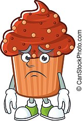 Cartoon picture of chocolate cupcake with worried face