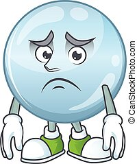 Cartoon picture of collagen droplets with worried face. ...