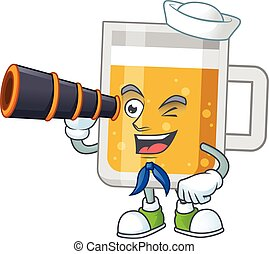 cartoon picture of glass of beer in Sailor character using a...