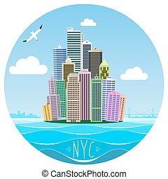 Cartoon picture of Manhattan