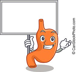 Cartoon picture of stomach mascot design style carries a board. Vector illustration