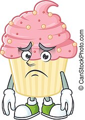 Cartoon picture of strawberry cupcake with worried face