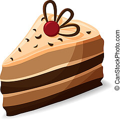Vector illustration of piece of cake in cartoon style